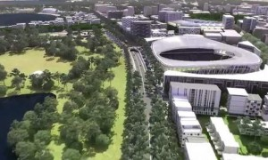 An image from a video provided by the Economic Development Directorate showing a proposed 30,000 seat stadium on the site of the current Civic pool.