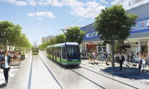 An artist's impression of light rail in Gungahlin